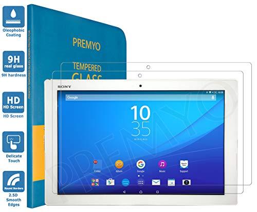 PREMYO 2 Stück Panzerglas Schutzglas Bildschirmschutzfolie Folie kompatibel für Sony Z4 Tablet HD-Klar 9H Anti Kratzer Blasen Fingerabdrücke