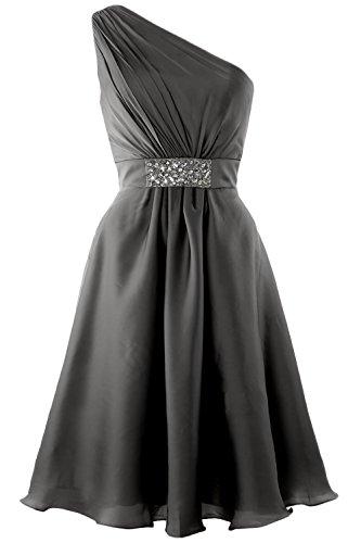 MACloth Elegant One Shoulder Cocktail Dress Short Wedding Party Formal Gown Grau