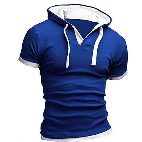 Sannysis Mode Herren Sommer Mode Mit Kapuze Pullover Männer Kurzarm T-Shirt (Blau2, L)