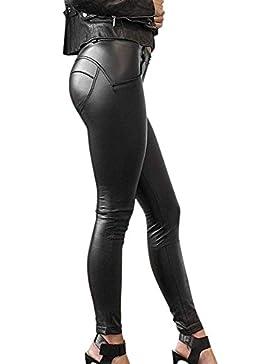 Pantalon Cuero Mujer Vintage Leggins Cuero Skinny Delgado Niñas Ropa Pants Sintético Cuero Treggins Slim Fit Cintura...