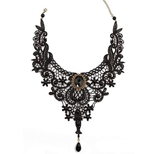 Black Lace Choker (Goodplan Premium Qualität Halskette - Gothic Victorian Black Lace Choker Halskette Metall Cameo Jewel Steampunk Cosplay)