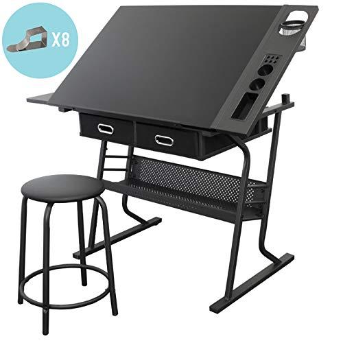 Stationery Island TIREE Zeichentisch zum Malen und Basteln - Kippbarer schwarzer Zeichentisch mit Stauraum, Hocker und