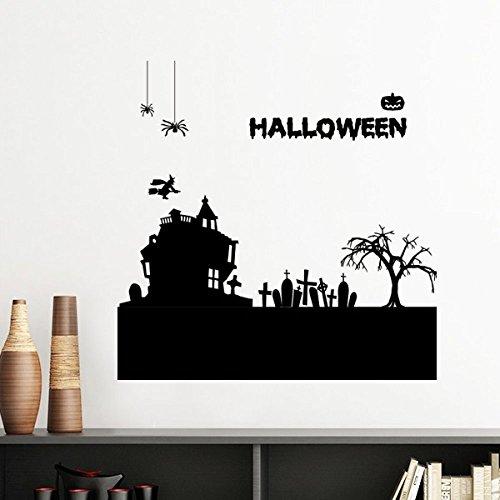 DIYthinker Bäume Glücklicher Geist Angst Halloween Silhouette entfernbarer Wand-Aufkleber-Kunst-Abziehbilder Wand-DIY Tapete Für Zimmer Aufkleber 50cm - Halloween-geister-baum Diy