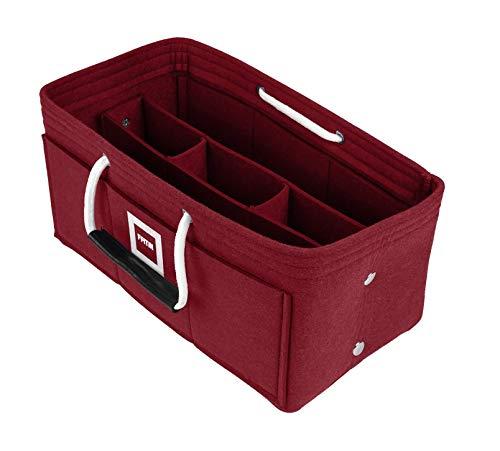 FFITIN Taschenorganizer Filz - Handtaschenorganizer mit Tragegriffen | Bag in Bag | XL Handtaschenordner (Luxe Bordeaux, XL - X - Large (33 x 16 x 16 cm)) - X-large-tasche