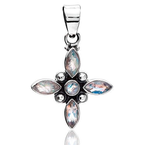 Unique exklusiver Jugendstil Ketten Anhänger echter Mondstein Stern eingefasst in 925 Sterling Silber 5.8 Karat Juweliers- Qualität