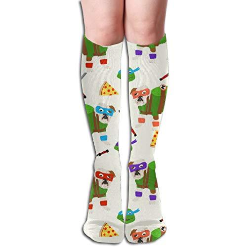 Rasyko English Bulldog Mutant Turtles Hunde-Kostüm, Comic, Halloween, Unisex, Bequeme Crew Socken, sportlich, für Flugreisen -