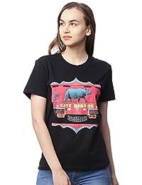 Wolfpack Save Horn Ok Wildlife Animals Nature Conservation Black Round Neck Half Sleeves 100% Cotton Girls/Womens T Shirts