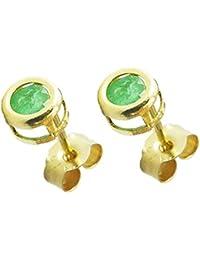 9ct Gelbgold Echter Smaragd 3MM RUND Zargenfassung Ohrstecker–Geburtsstein Mai–Bezaubernde Eleganz