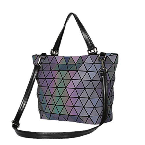Luminous Bag Frauen Geometrie Diamant Tote Umhängetaschen Klappe Handtasche Geometrische Lässige Clutch Umhängetasche xiao 20cm*Max Length*30cm -