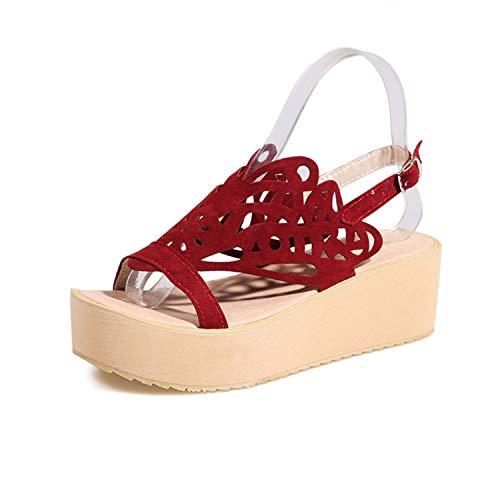 Woman Fashion Nubuck Flat Sandals Women Summer Gladiator Shoes Womens Cut Outs 2019 Sandals Female Platform Slingback Shoes Red 9.5