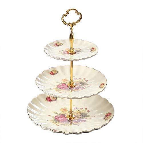 Panbado marfil porcelana 3niveles soporte para tartas de cerámica parte alimentos plato de postre de pantalla soporte