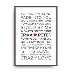 Fine Art Kunstdruck LOVE SONGS HOCHZEIT Poster Print Plakat moderne Vintage Deko Bild ohne Rahmen DIN A4 Geschenk personalisiert