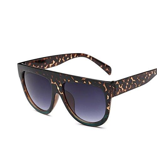 Tocoss (TM Flat Top Spiegel Sun Glasses Cat Eye Sonnenbrille Frauen Französische Marke Design Oculos de Sol Vintage Sun Glasses weiblich Stift Shades, Leopardenmuster, Grün