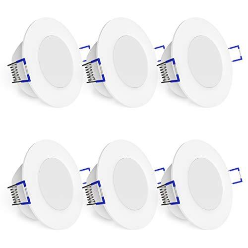 linovum® WEEVO 6er Set IP44 Einbaustrahler LED 230V rund - runde Deckenspots warmweiß 3,5W Bad & Außen - flacher Einbau 29 mm