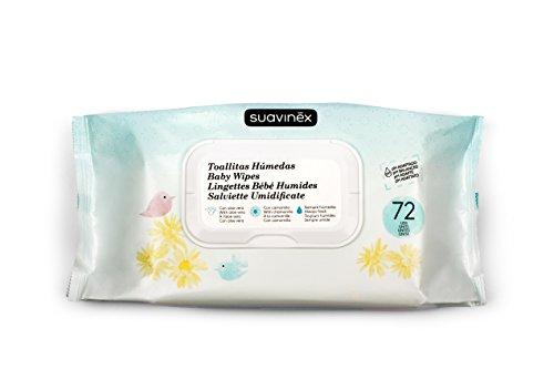 Suavinex - Pack 72 Toallitas húmedas para bebé. Hidratantes y extra suaves. con Camomila y Aloe Vera. formato viaje