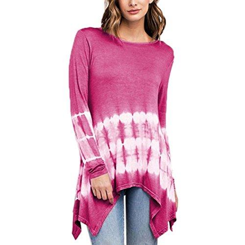 ZIYOU Langarmshirts Damen, Frauen Übergröße Loose fit O-Ausschnitt Lange Ärmel T shirts Unregelmäßige Gradient Pullover Tops Bluse(EU-48/CN-4XL,Rosa-rot)