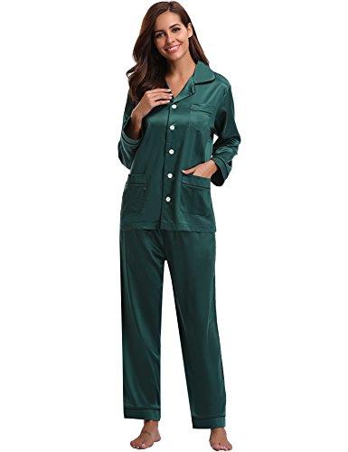 Aibrou Damen Herbst Klassische Schlafanzug Satin V-Ausschnitt Zweiteiliges Pyjama Nachtwäsche Set Grün M (Seide Schlafanzug)