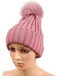 Fuxitoggo Cappellino Invernale in Lana Lavorato a Maglia da Donna con  Cappelli a Fune a Maglia (Colore   Rosa cf77c1fc9479
