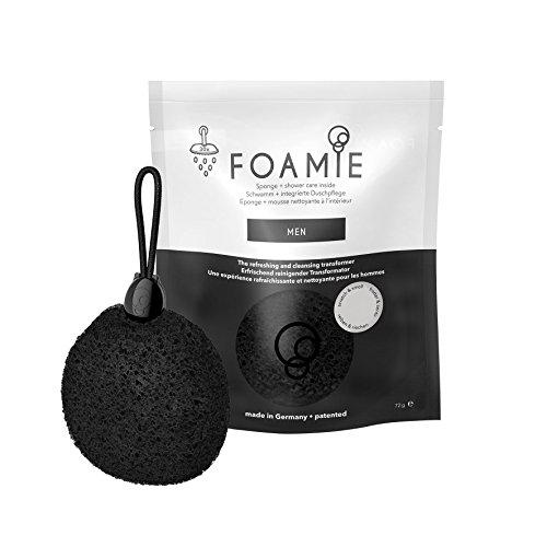 Foamie Men 4en 1esponja de ducha con ducha Cuidado integrado para hombres, y dermatológicamente Probado, PH neutro