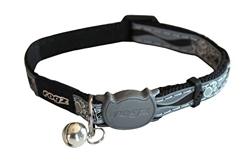 Rogz Catz NightCat Paws Collar, Black