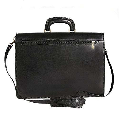 Aktentasche in italienischem Leder, Cartel, Mann und Frau Business Bag Made in Italy 39x30x18 cm Schwarz