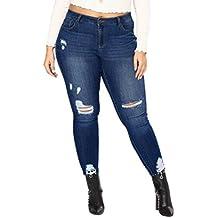 Sannysis Ropa Hombre Vaqueros para Mujer Cintura Alta Tallas Grandes  Pantalones Rotos Leggins Jeans Mujer Elástico Flacos 7b9dd662d6ab