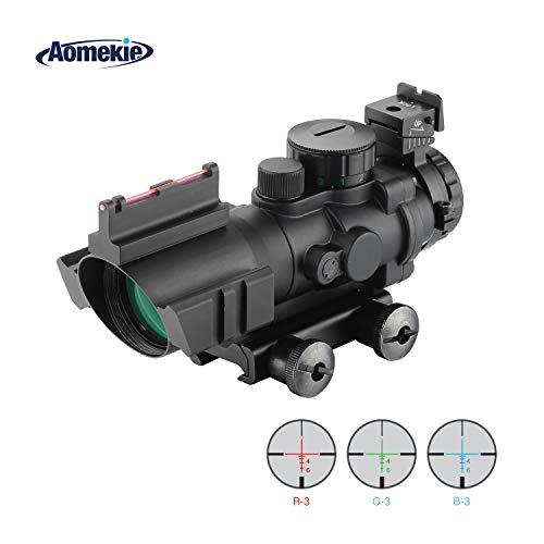 AOMEKIE Zielfernrohr 4x32mm Airsoft Red Dot Visier Sight Leuchtpunktvisier mit Fiberoptic und 20mm/22mm Montage für Jagd und Sport