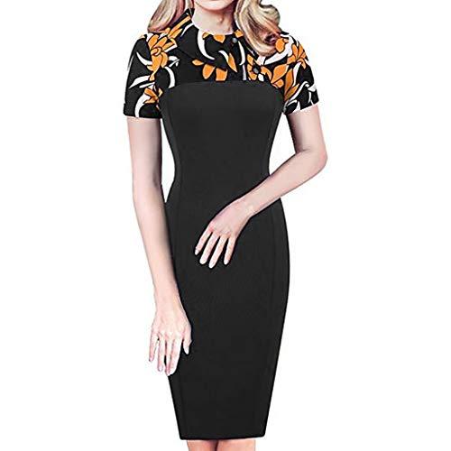 VJGOAL Damen Kleider, Frauen Sexy Elegant Einfach Abendkleid O-Kragen Mode Trend Knielang Hüfte Partykleid - Einfach Rock Star Kostüm