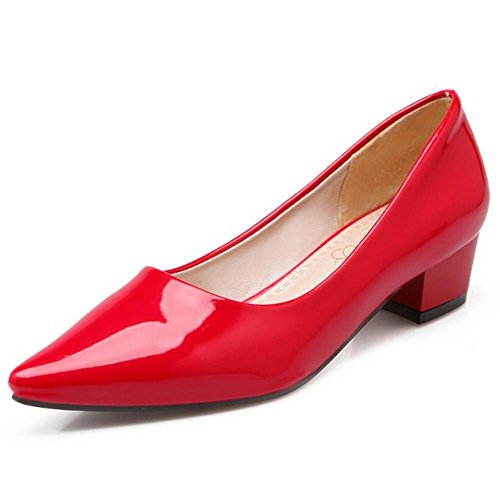 COOLCEPT Damen Slip-on Maedchen Low Heels Pointed Toe Party Pumps Rot