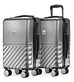 HAUPTSTADTKOFFER - Boxi - 2er Handgepäck Kofferset Bordgepäck Cabin Size Koffer 55cm, ABS-Hartschale TSA, 4 Spinner-Doppelrollen, Silber