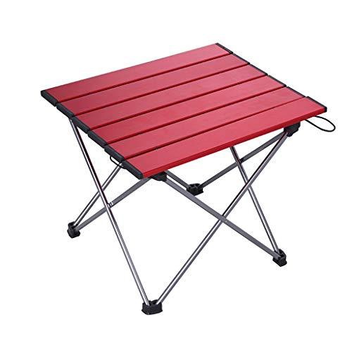 Ultra-moderne-couchtische (DQMSB Klapptisch Camping Picknick Aluminium Klapptisch selbstfahrende Tour Grill Ultra leichte tragbare Tabelle (Farbe : Red))