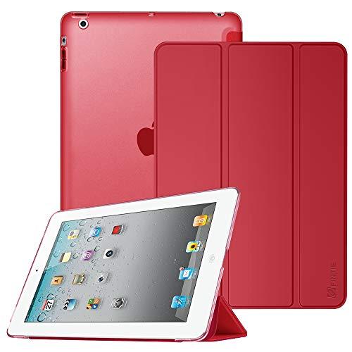 Fintie Hülle für iPad 4, iPad 3 und iPad 2 - Ultradünne Superleicht Schutzhülle mit transparenter Rückseite Abdeckung Cover mit Auto Schlaf/Wach Funktion, Rot (Smart Rot Apple Case Ipad 2)