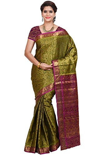 Mimosa Women's Traditional Art Silk Saree Kanjivaram Style With Blouse Color:Olive(3347-69-DC-BL-OLV-RNI )  available at amazon for Rs.1399