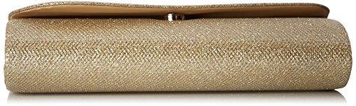 Damara Pochette da donna con aletta di chiusura obliqua, finitura scintillante Gold