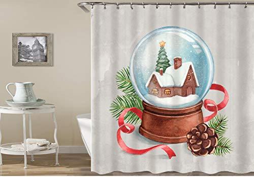 dsgrdhrty Grün lässt braune Tannenzapfen und Weihnachtskugeln auf abstraktem grauem Hintergrund Wasserdichter Badezimmervorhang antibakteriell tragbar und waschbar