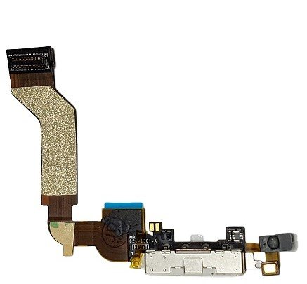 SMARTEX Ladebuchse mit Flex Kabel Kompatibel mit iPhone 4S Weiß – Dock Connector mit integrierten Mikrofon, Homebutton, Lautsprecher Anschluss
