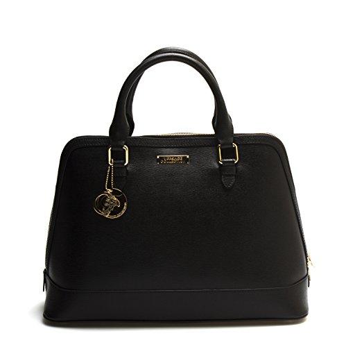 Versace-Collections-Women-Leather-Top-Handle-Handbag-Satchel-Black