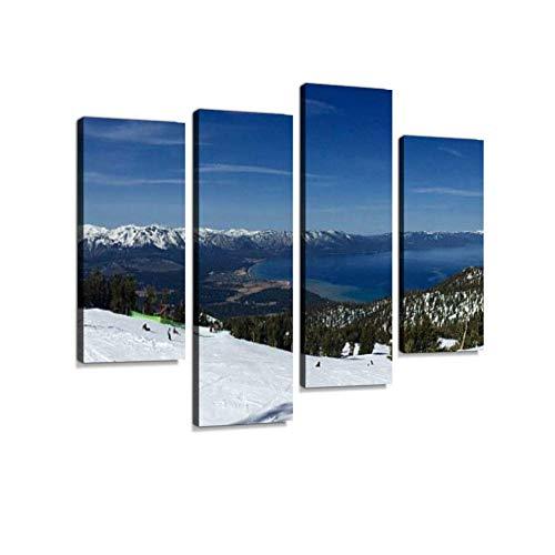 LIS HOME Lake Tahoe von Heavenly Mountain Ski Piste Leinwand Wandkunst hängen Gemälde Moderne Kunstwerke abstrakte Bild Drucke Dekoration Geschenk einzigartig gestaltet gerahmt 4 Panel
