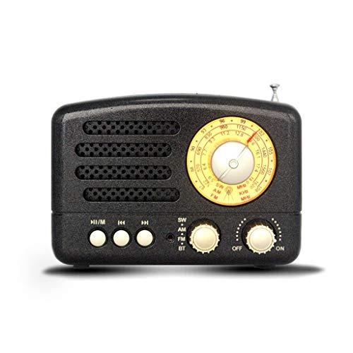 TangMengYun Retro tragbarer Kleiner Radio-USB-Bluetooth-Multi-Band-Zeiger Eingebaute Lautsprechersendung (Color : Black)