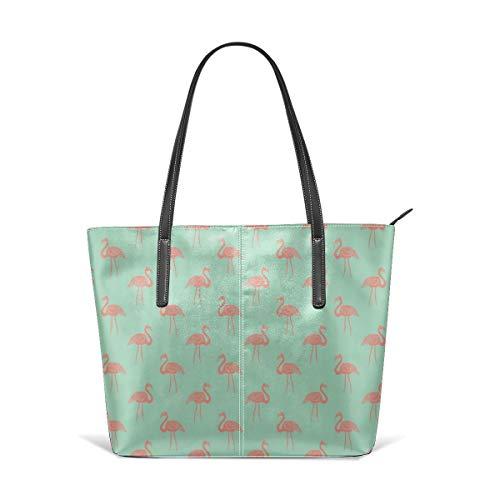 Damen Schultertasche aus weichem Leder Flamingo Simple Tropical Summer Preppy Flamingo By - Coral On Mint Fashion Handtaschen Umhängetasche