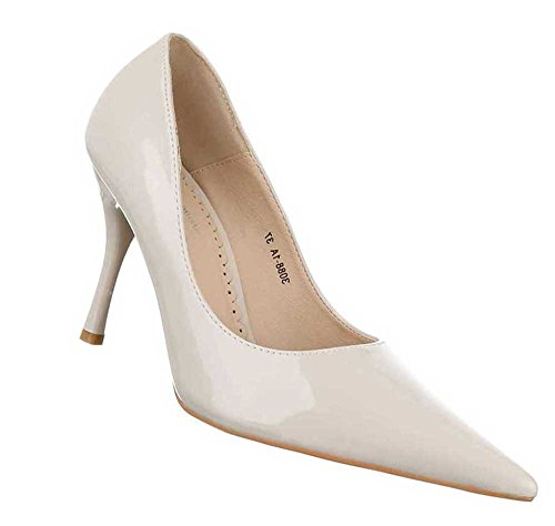 7282ea32788304 Damen Pumps Schuhe High Heels Stiletto Schwarz Beige -simmeth ...