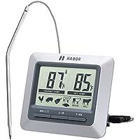 Habor Termometro Cucina Timer, Termometro Digitale Grande LCD Display Sonda Acciaio Lettura Istantanea per Barbecue, BBQ, Griglia, Vino, Latte, Cibo, Carne, Acqua Bagno