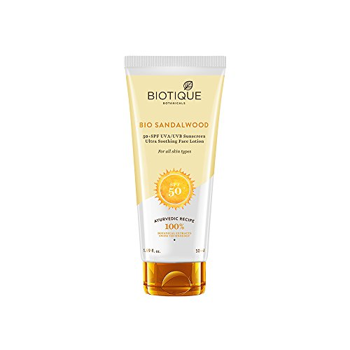 Biotique Bio Sandalwood 50+ SPF UVA/UVB Sunscreen Ultra Soothing Face Lotion 50ml  available at amazon for Rs.130