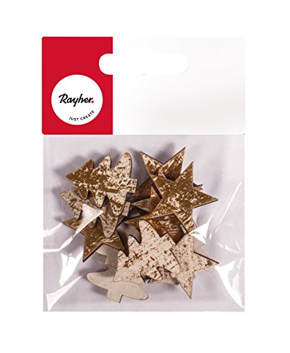 Rayher 46266616 Holz-Streuteile Stern und Baum, Stärke 2 mm, gold gewischt, im Shabby Style, Vintage Look, Holzstreuteile, Tischstreuer, Tischdeko, Streudeko Weihnachten, Btl. 12 Stück, 3 cm