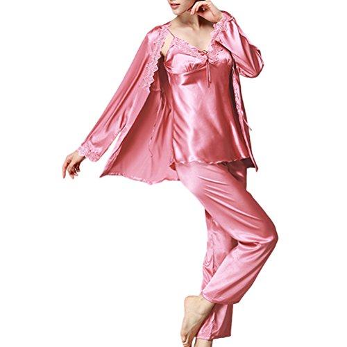 Zhhlaixing Fashion Three-piece Long Sleeves Nightwear Set Elegant Womens Home Silk Pajamas Coral Red