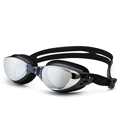Schwimmbrillen Xinjin bieten Ihnen Anti-Fog Crystal Clear Vision und Wasserdichte und Bequeme Passform - Spiegel UV-Schutz - für Erwachsene und Kinder (Farbe : Black)