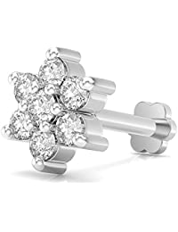 SKM Jewellers Body Peircing Jewellery 18k White Gold Plated 925 Silver Nakshatra Style Floral Style Ladies Nose...