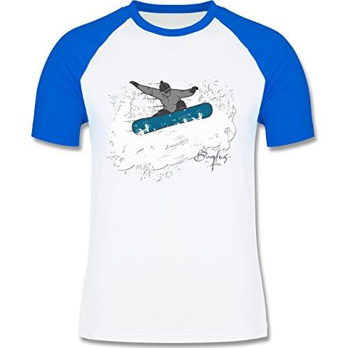 Wintersport - Snowboarder Schnee Fun - zweifarbiges Baseballshirt für Männer Weiß/Royalblau
