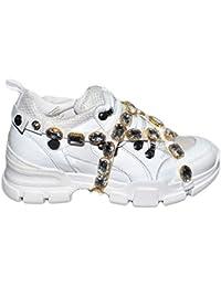eac344eed17f7 Sneakers Bassa Vera Pelle Bianca Donna con Fondo Alto Disruptor E  Applicazioni con Catena E SWAROSKY