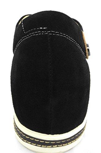 Zerimar Chaussures de Sport Rehaussantes Por Hommes Ajoutez + 6 CM à Votre Taille Fait de Cuir de Haute Qualité Couleur Blanc-Tan Taille 45 Noir